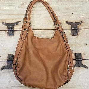 Merona shoulder purse tan brown multi compartment